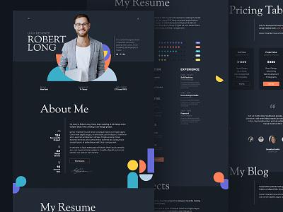 Resume Landing Page graphic design mobile ui ux ui design ui ux agency template psd resume portfolio homepage cv resume