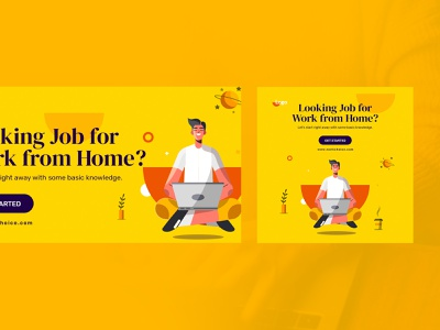 Job Search Web Ad Banners work from home job advisor campaign marketing banners banners dream job relax job job search ux ui ad job ad banner workfromhome