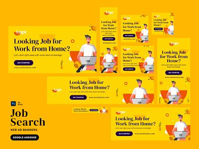 Job Ad Banners yellow creative website adwords google dream job relax naukri job search job banner marketing banner website banner web banner workfromhome