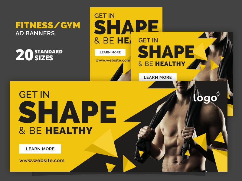 Fitness gym ad banners by webduckdesign dribbble