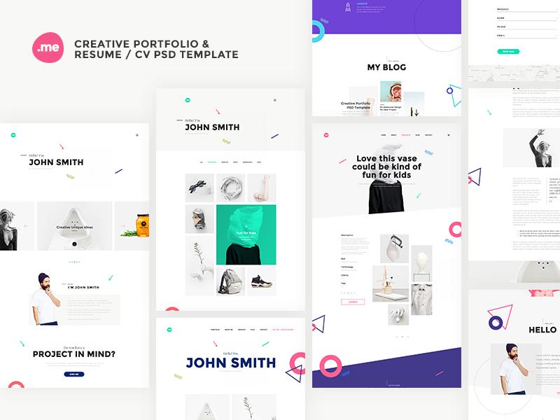 Permalink to Me  Creative Portfolio u0026 Resume / CV PSD Template by webduckdesign  Dribbble