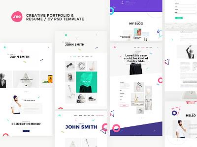 Me - Creative Portfolio & Resume / CV PSD Template unique resume portfolio onepage minimal freelancer designer cv creative clean bootstrap blog