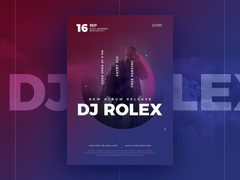 Dj flyer dj poster by webduckdesign dribbble high quality dj concert flyer psd template this template is perfect for dj concert party music nightclub events you will get psd version also it can maxwellsz