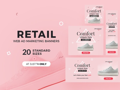 Retail Web Ad Marketing Banners online shop fashion website banner web banner shoe discount sale retail clean advertisement ad banner ad