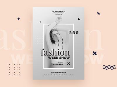 Fashion Week Flyers creative modern clean show week fashion poster flyers flyer cmyk