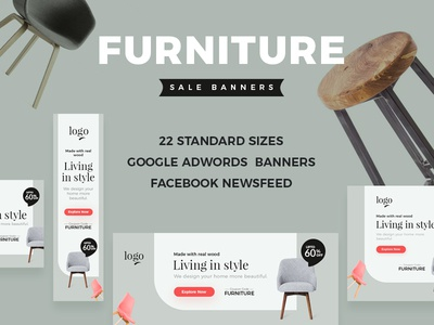 Furniture Sale Banners ecommerce online shop clean offer discount wood chair shop advertisement ad banner ad furniture