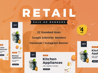 Retail Sale Ad Banners web banner ecommerce online shop website banner marketing kitchen appliance retail ad banner ad