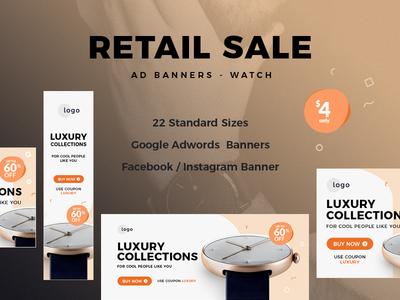 Retail Sale Web Ad Banners creative clean psd google banner watch online shop ecommerce retail banner web ad banner banner ads
