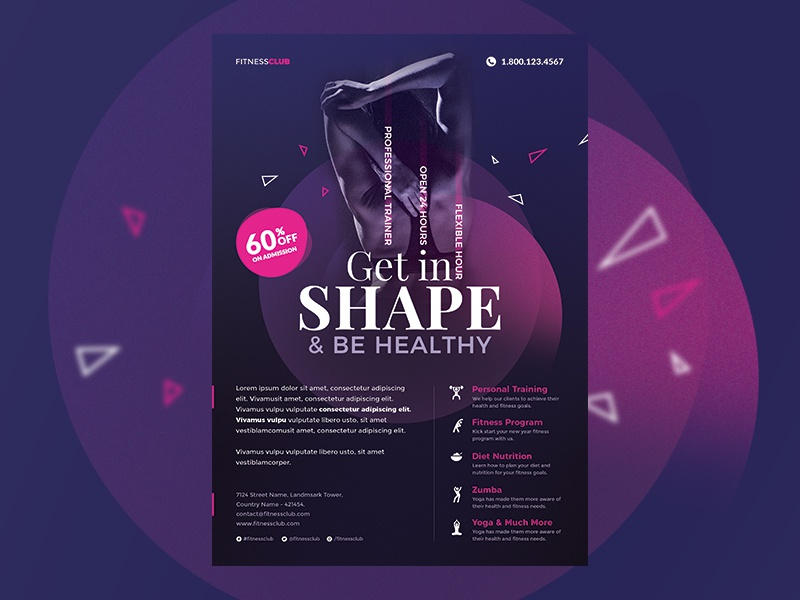 Fitness Flyer design flyer graphic template flyer template health fitness free flyer nutrition weight loss zumba gym personal trainer cardio training