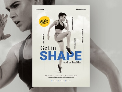 Gym / Fitness Flyer diet nutrition cardio personal trainer print ready free poster photoshop ai psd flyer body work health fitness