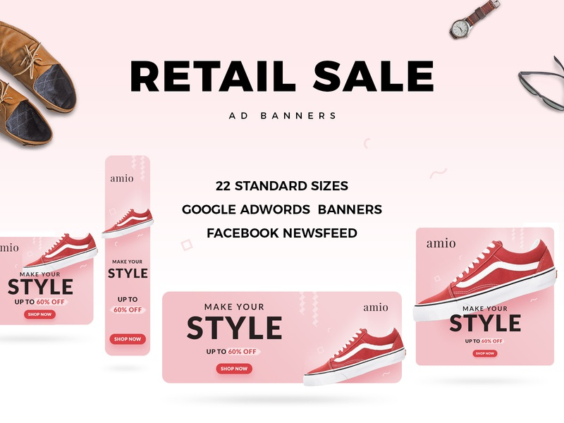 Retail Sale Web Ad Banners ad design creative advertising ecommerce shopping psd photoshop google ad banner shoe retail ad banner ad