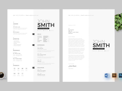 Resume clean resume design ai psd ms word curriculum vitae creative minimal skills cv resume cv resume