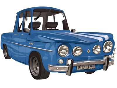 Bleue R8 Gordini Coupé, 1964. oscarjulve illustration vintagecar car renault