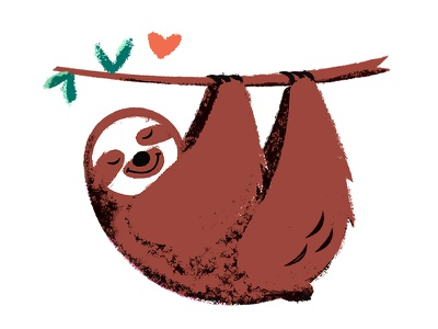 Sloth Love  wilderness warm texture sloth love sloth love jungle illustration heart forest cute animal