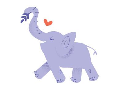 Elephant Love animal wildlife folk love lilac purple elephant kids illustration jungle heart elephant texture elephant love