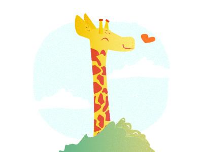 Giraffe Love tall cute yellow texture love kid illustrations jungle heart giraffe love giraffe animals animal