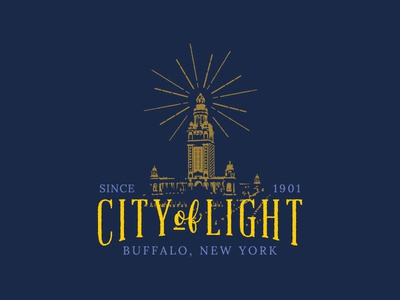City of Light buffalo ny buffalo new york electricity vintage urban city history logo tesla new york buffalo city of light