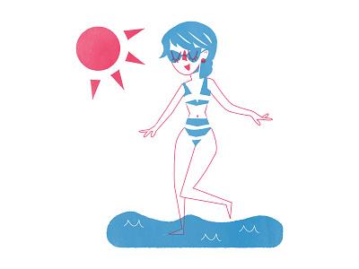 Summer Fun texture cute vintage bathing suit shore swim screen print fun water beach overlay summer