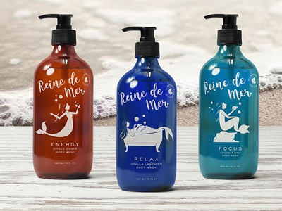 Reine De Mer Body Wash branding relax products illustration sea sea queen bath tub package design bubbles mermaid product design