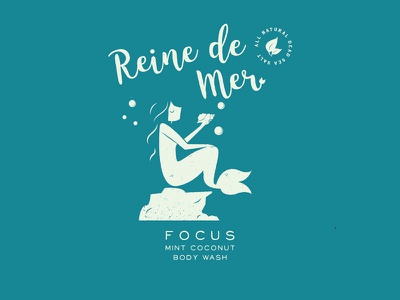 Focus clean water under the sea moods branding tub bubbles body wash package design illustration logo mermaids