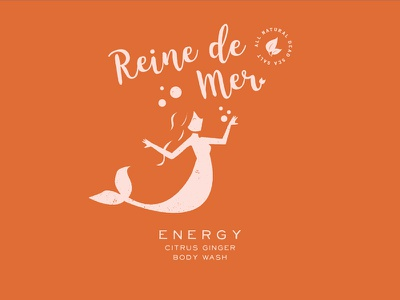 Energy clean water under the sea moods branding tub bubbles body wash package design illustration logo mermaids