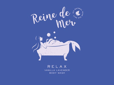 Relax clean water under the sea moods branding tub bubbles body wash package design illustration logo mermaids