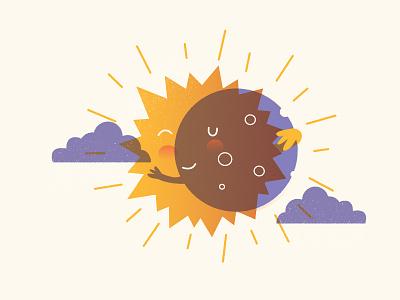 Solar Eclipse Reunion love sunshine sun stars space solar eclipse solar smile rays moon hug eclipse