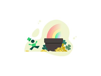 The end of the rainbow clover leprechaun coin rainbow art minimal graphic design illustration design