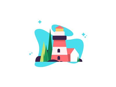 Lighthouse nature house lighthouse simple art minimal graphic design illustration design