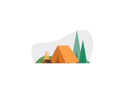 Camping wood tree logo fire tent trees camping campfire camp vector art minimal illustration graphic design design