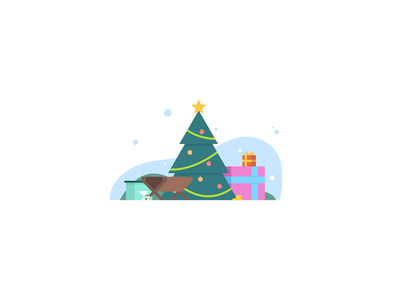 Christmas design art illustration star gifts gold manger christmas tree presents snow christmas