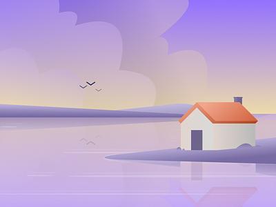 Cabin ocean sea land yellow blue coast water landscape house home cabin design art illustration