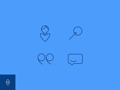 Icons brand blue speech friend quote search fun stroke ux ui icon