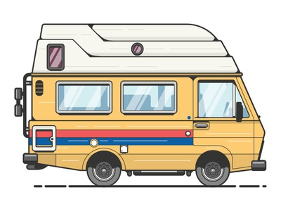 Adventure Van poler adventure camping camper rv van illustration