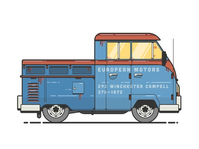 Work truck european coffee kramer michael richards rust illustration truck vw comedians comedians in cars