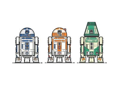 R2, R3, R4.... force illustration r2dr droids star wars