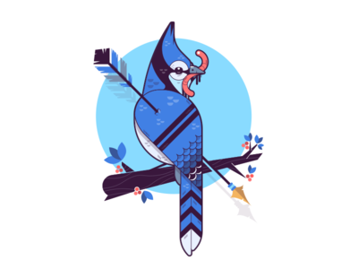 Blue Jay illustrator dead arrow design worm birds blue jay illustration