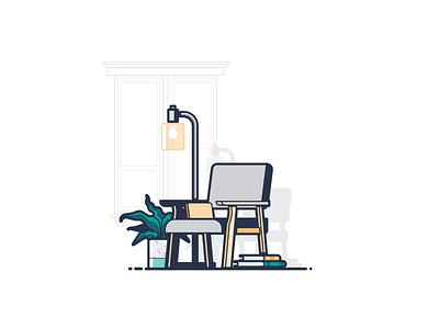 Living Room Still Life chair books atlanta condo city illustration window shadow light lamp home plant