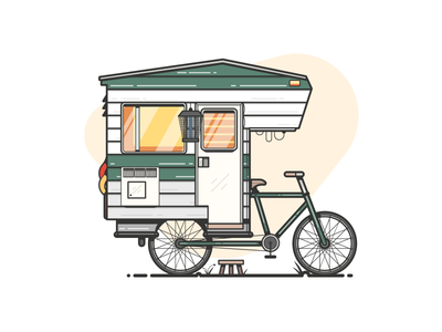 Camper Bike stool zap bug car vehicle camper camp bike illustration