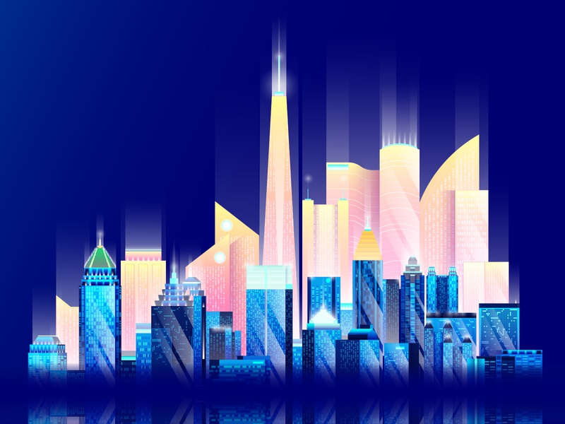 Future ATL client vaporwave skyline city future 2020 illustration atlanta