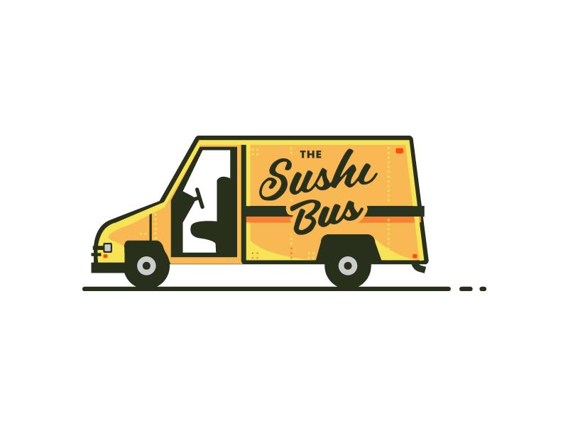 The Sushi Bus logo branding illlustration free download sushi food truck