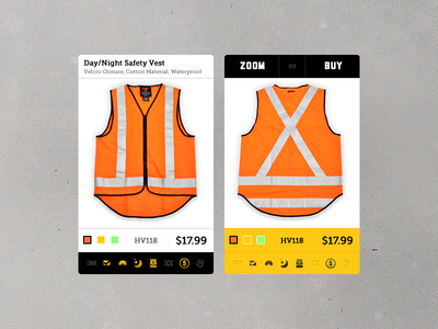Hover States for Safety Vest Product Listing UI