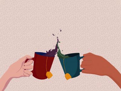 SPILL THE TEA design cover procreate artist simple flat hand dribbble spill tea shot female art illustration art direction 2d