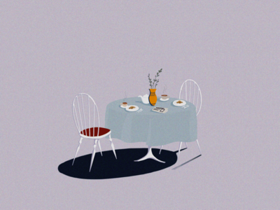 B R E A K F A S T dribbble decoration flowers gif furniture chair animation table breakfast shot illustration art art direction 2d