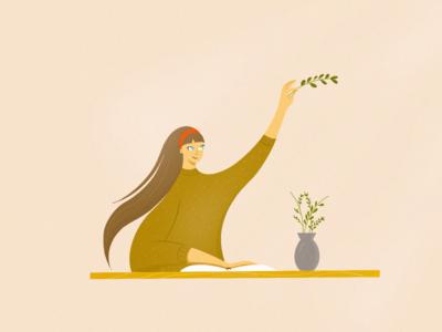 HERBARIUM girl hair character design shapes simple plant herbarium design shot illustration art art direction 2d