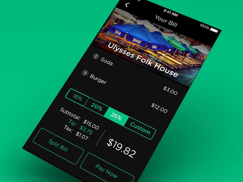 Dash - Bill ui ux app iphone mobile restaurant pay user interface black green clean