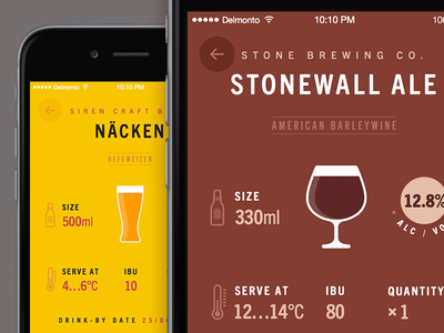 Beer Cellar beer brown yellow ios iphone app typography icon