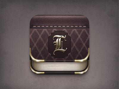 Libra Icon icon ios leather iphone book gold