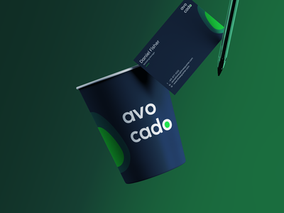 Cup & Business Card Design - Avo Cado mockup package design packaging cup business card brand identity typography logo identity branding design flat minimal branding logo design brand design