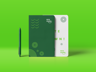 Notebook Design - Eco Mate notebook design a4 size pen green ecomate notebook logo identity branding flat design minimal branding logo design brand design